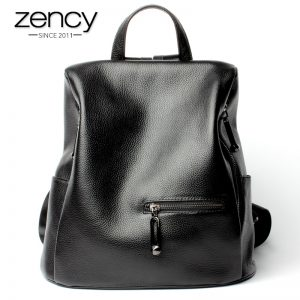 Zency Fashion Women s Backpack  Genuine Leather Black Knapsack Girls Schoolbag Notebook Daily Casual Travel