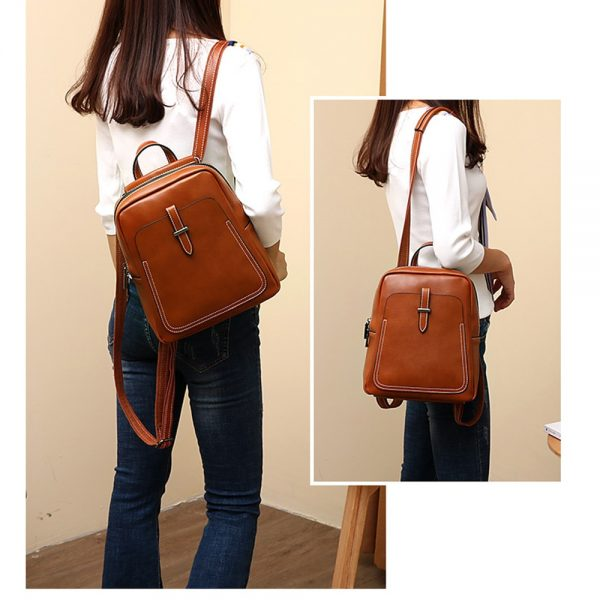Zency Holiday Women Backpack  Genuine Leather Lady Casual Travel Bag Fashion Brown Knapsack Preppy Style