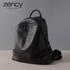 Zency Hot Sale Genuine Leather Fashion Women Backpack Black Knapsack Laptop Schoolbag Lady Daily Casual Travel
