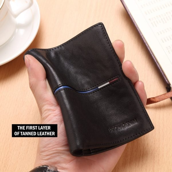 BISON DENIM Brand Genuine First Layer Leather Short Wallet Business Classic Purse Men s Wallet Cards