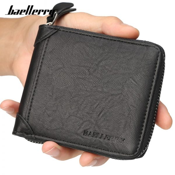 Baellerry Casual Style Zipper Men Wallets Card Holder Small Wallet Male Synthetic Leather Man Purse Coin