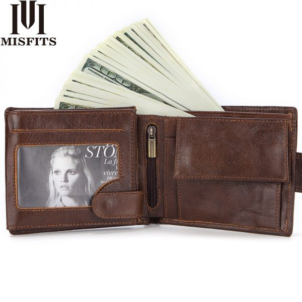 Brand Men Wallets Genuine Leather Short Coin Purse Fashion Hasp Wallet For Male Portomonee with Card