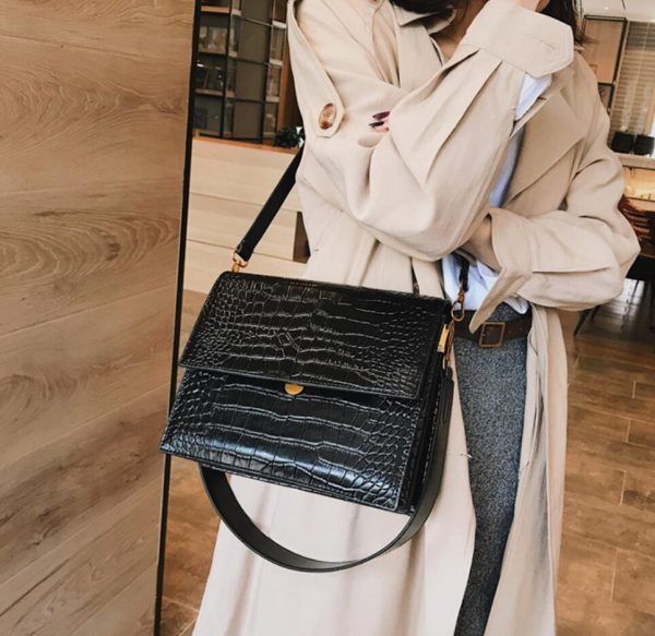 European Fashion Simple Women s Designer Handbag  New Quality PU Leather Women Tote bag Alligator