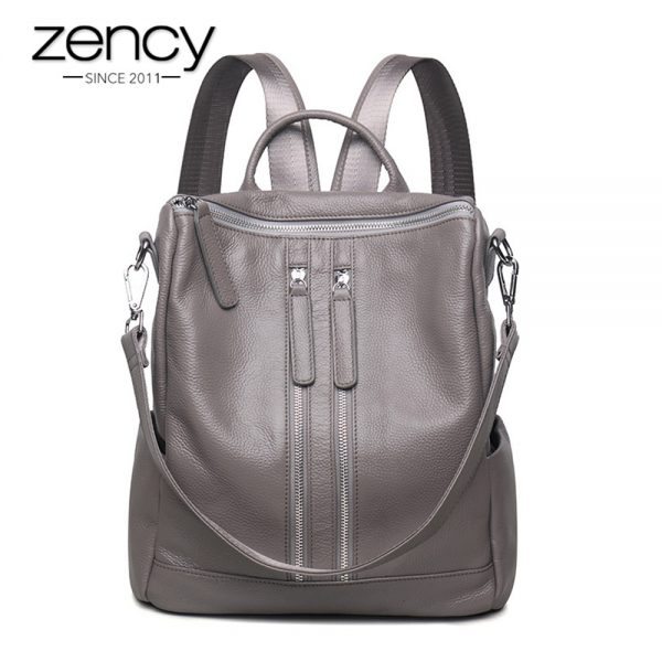 Zency Fashion Genuine Leather Women Backpack Ladies Travel Bags Girl Schoolbag Preppy Style  Ways Wearing