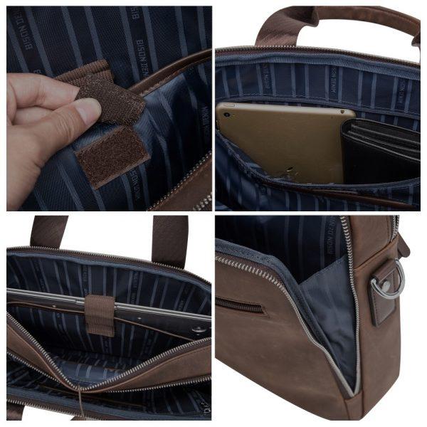 BISON DENIM Brand Men s Briefcase Satchel Bags Genuine leather  Laptop Handbag Business Crossbody Shoulder