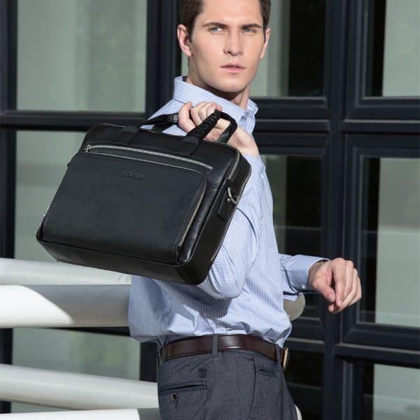 BISON DENIM Genuine leather Briefcases  Laptop Handbag Men s Business Crossbody Bag Messenger Shoulder Bags