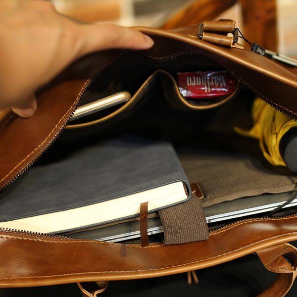 Brand Crazy Horse PU Leather Men Briefcase Vintage  inch Big Business Laptop Handbag Fashion Brown