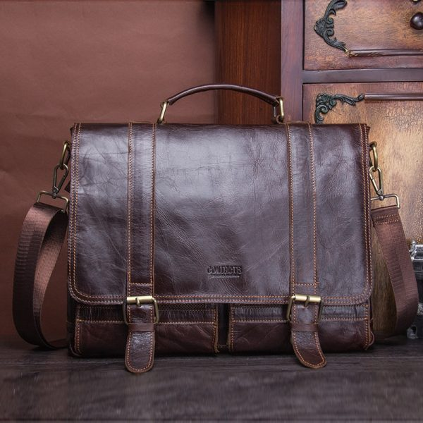 CONTACT S men s briefcase genuine leather business handbag laptop casual large shoulder bag vintage messenger