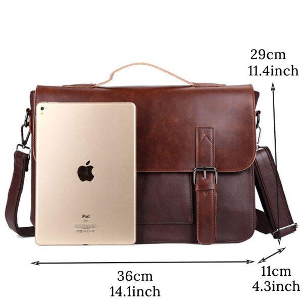 Crazy Horse Artificial Leather Business Handbag Laptop Briefcases for Men Leather Casual Men Bag Messenger Shoulder