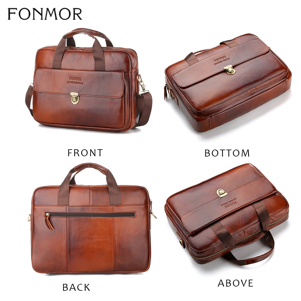 Men/'s Black Cowhide Genuine Leather Messenger Shoulder Laptop Bag Briefcase 01