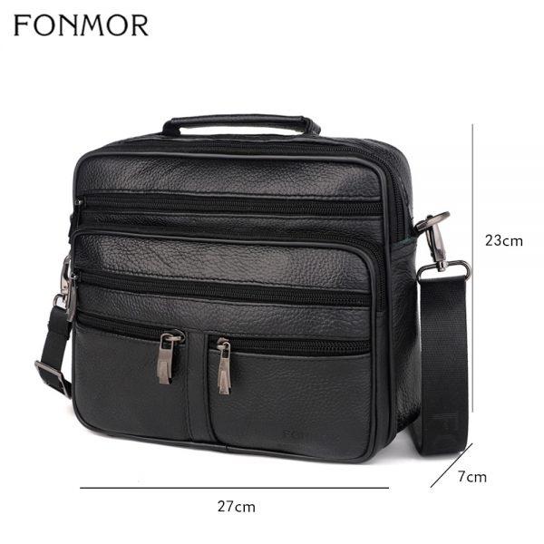 Fonmor Genuine Leather Briefcase Male Laptop Cowhide Bag For Men Messenger Shoulder Bags Business Crossbody Bag