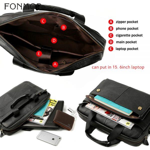 Fonmor Genuine Leather Handbags Men Briefcase Business Computer Crossbody Bag Messenger Shoulder Bags Male Laptop Tote