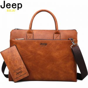 JEEP BULUO High Quality Men Briefcases Set For  inch Laptop Business Bags Handbags Leather Office