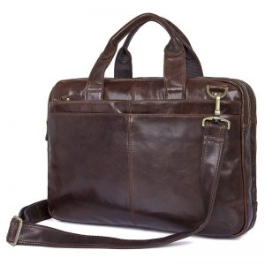 Nesitu Vintage Coffee Genuine Leather Men Briefcase Messenger Bags Portfolio  Laptop Business Mens Office Bag