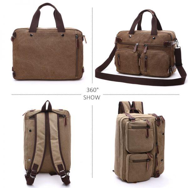 Scione Men Canvas Bag Leather Briefcase Travel Suitcase Messenger Shoulder Tote Back Handbag Large Casual Business
