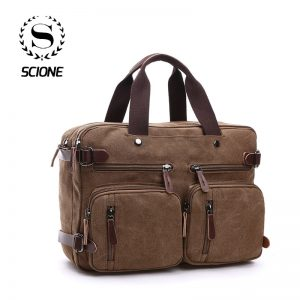 Scione Men Canvas Bag Leather Briefcase Travel Suitcase Messenger Shoulder Tote Back Handbag Large Casual Business
