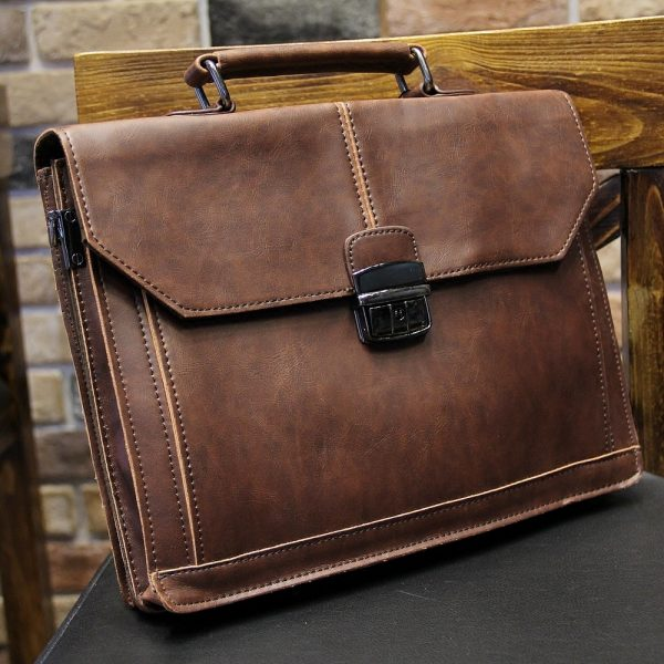 Vintage Men s Bag Crazy Horse PU Leather File Briefcase Men Messenger Bags Coffee Color Fashion