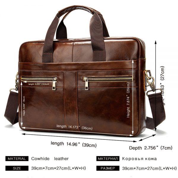WESTAL Bag men s Genuine Leather briefcase Male man laptop bag natural Leather for men Messenger