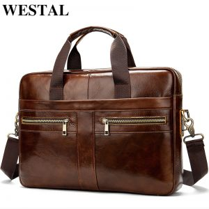 WESTAL Bag men s Genuine Leather briefcase Male man laptop bag natural Leather for men Messenger
