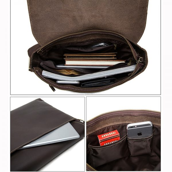 WESTAL Men s Briefcases Laptop Bag Leather Lawyer office Bags Messenger Bags Men s Crazy Horse