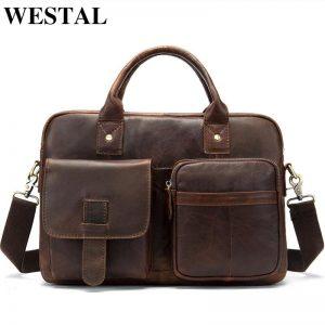 WESTAL men s briefcase men s genuine leather bag male laptop bag leather briefcases men office
