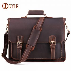 Crazy Horse Leather Men's Laptop Bags